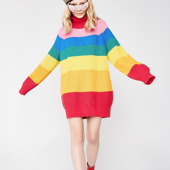 3a48a64fc31c Lazy Oaf Sweaters - Lazy Oaf Rainbow Roll Neck Oversized Sweater